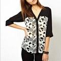 2016 New Spring Summer Women Blouse Fashion Half Sleeve Moon Print Chiffon Blouses Sexy Casual  V Neck Shirts Tops