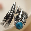 Real 925 Sterling Silver Rings For Women Vintage Feather Ring With Natural Stone Turquoise Jewelry Adjustable For Men And Women