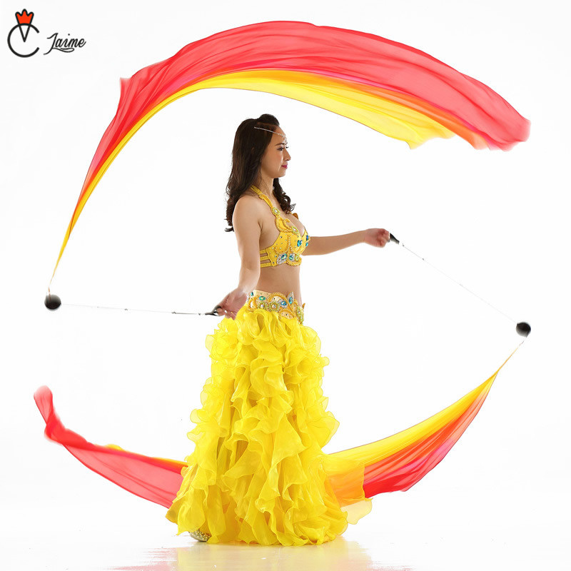 Belly Dance Silk Veil Poi 100 Silk rainbow color Veil Pois Chain Ball Women Streamer Stage Props Free Shipping Color gradient in Belly Dancing from Novelty Special Use