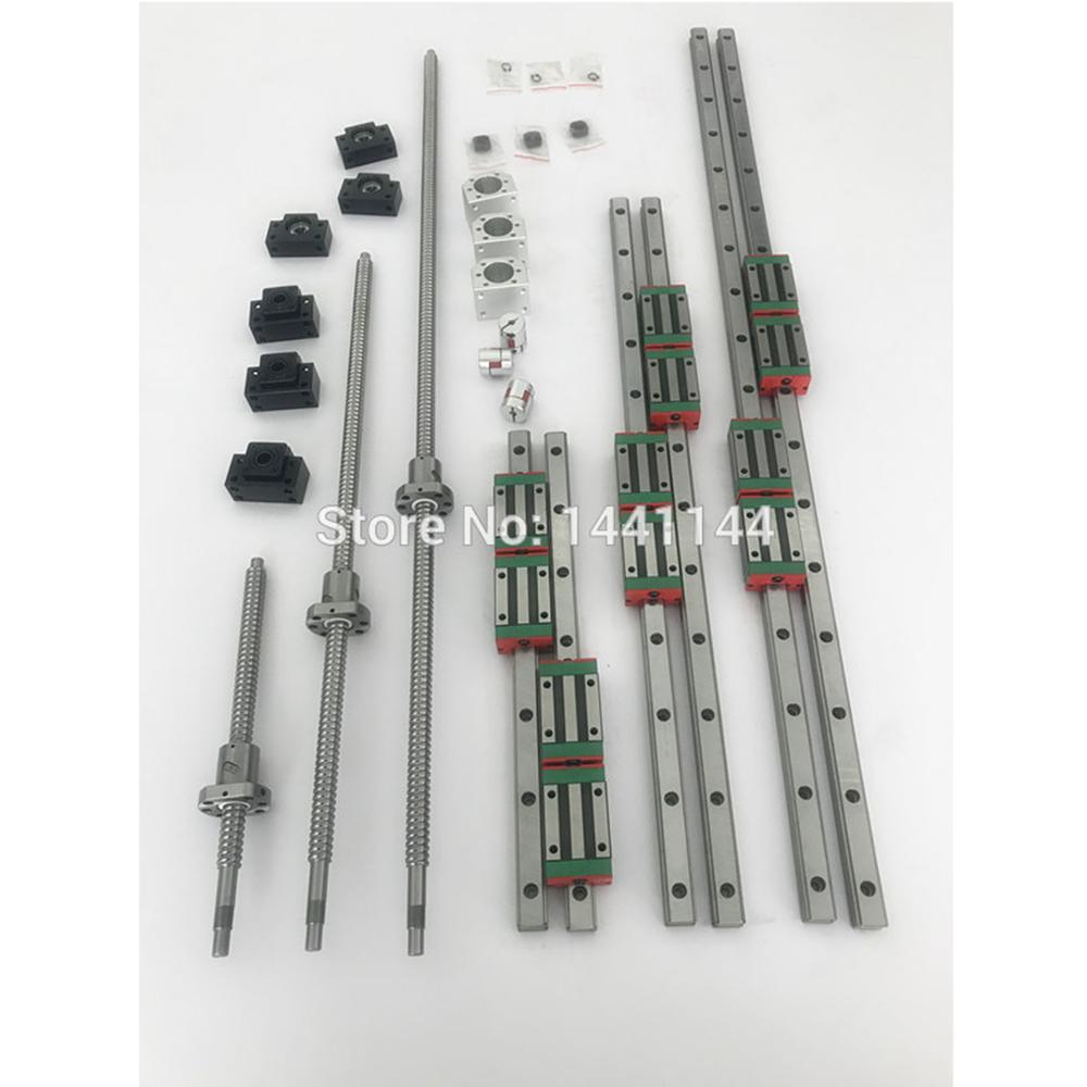 3sets Square Linear guide sets 400/700/1000mm + 3pcs Ballscrew 1605 - 400/700/1000mm with Nut + 3set BK/B12 + Coupling for CNC