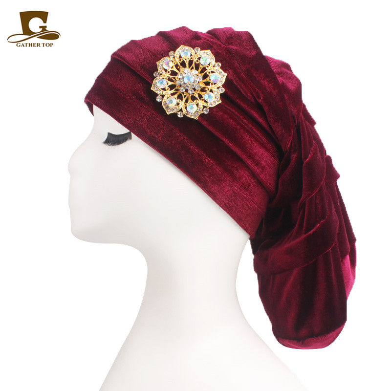 New fashion Pleated Velvet Turban With Metal Brooch Long Women Baggy Chemo Cap Sleeping Hat Headwrap Slouch Caps Beanie Headwear