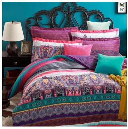 Pink Purple Blue Green Paisley Bedding Sets King Queen Size Duvet