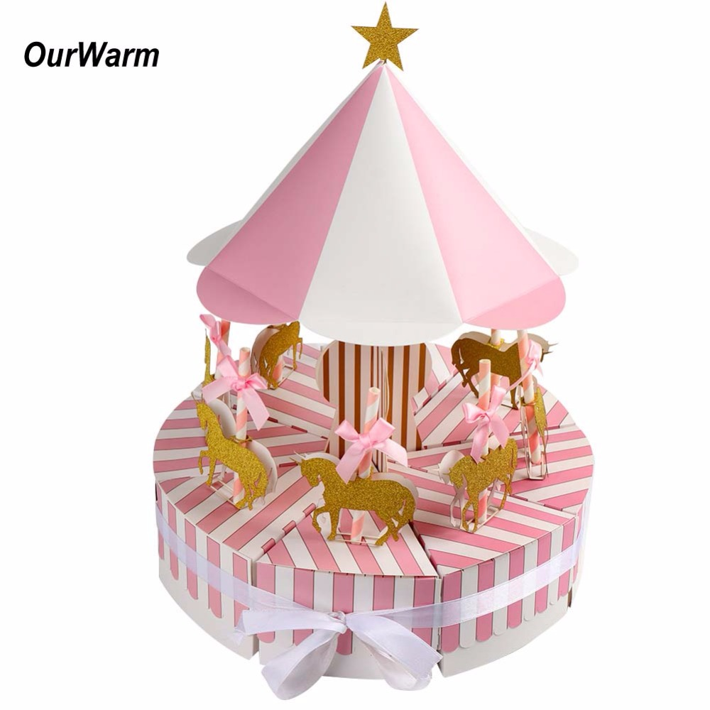 OurWarm Carousel Paper Gift Box Wedding Favors And Gifts Unicorn Party Baby Shower Candy Box Birthday Party Decorations Kids