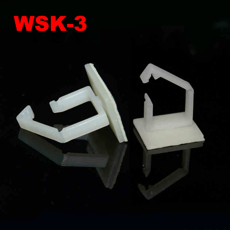 20pcs WSK-3 15.7mm High 20x20mm White Plastic Nylon 3M Glue Self Adhesive Adjustable Buckle Cable Wire Clip Fixed Mount Clamp