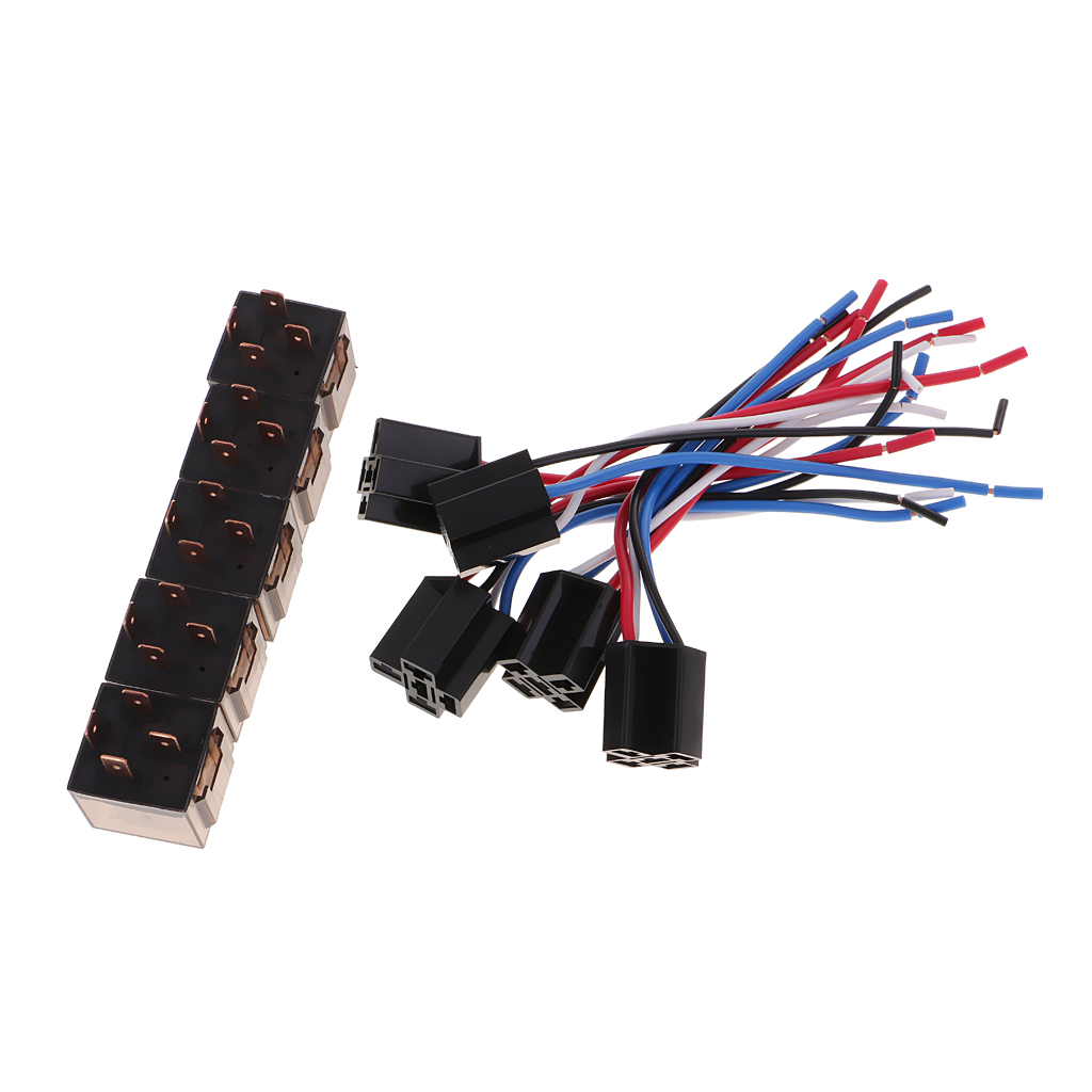 5 Pieces DC12V 80Amp Car SPST Automotive Relay 4 Pin 4 Wires Harness Socket 5 pcs blue wired ceramic socket led indicator light 3p car flasher relay dc12v