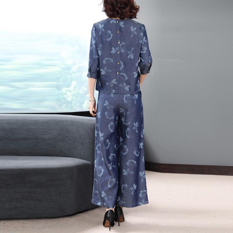 Conjunto Moda Las Impreso Azul Piezas Floral Diseño Mujeres Primavera Ropa 2 Pantalones Rayón 2019 Calidad Alta Real De La Camisa qF4awAx0