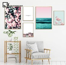 Flamingo Flower Ocean Wall Art Canvas Poster Nordic Minimalist Print Painting Scandinavian Decoration Picture Living Room Decor(China)