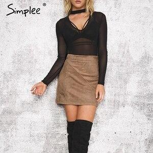 Image 5 - Simplee סתיו בציר עור חצאיות חורף זמש עיפרון חצאית צלב גבוה מותניים רוכסן חצאית פיצול Bodycon מיני נשים חצאיות