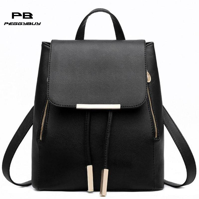 Women Girls PU Leather Solid Backpack School Bag Student Travel Rucksack Knapsack Teen Female Casual Portable Satchel Pouch Tote la roche posay effaclar duo