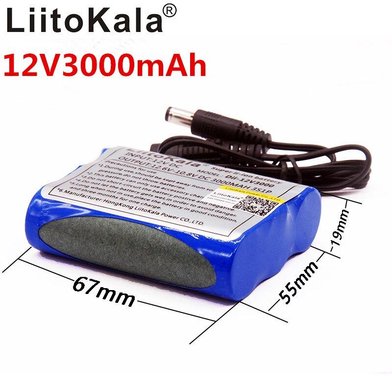 Liitokala 12 v 3000 mAh Li-ion Recarregável Carregador de Bateria C Mara CCTV não inclui Carregador 1A