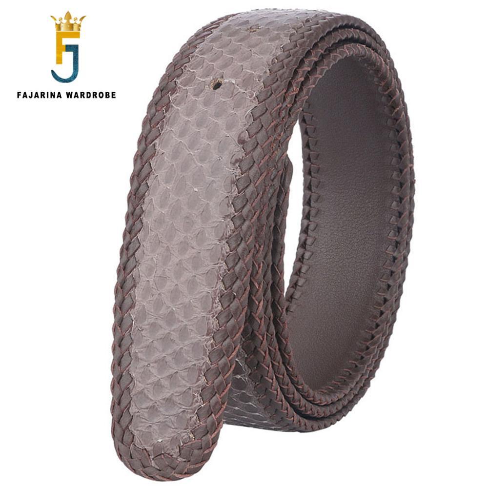 FAJARINA di Alta Qualità Vera Pelle di Serpente Cinture In Pelle per Gli Uomini Tessuto Linea di Cinghie Cintura 3 Colori Opzionale Senza Fibbia N17FJ340 - 3