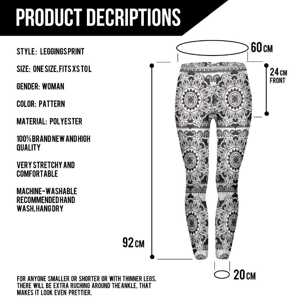 Mandala Black Printing Leggings