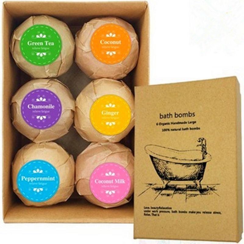 6Pcs Organic Bath Salt Bombs Bubble Salts Ball Oil Sea Salt Handmade SPA Stress Relief Exfoliating Ginger Coconut Oil Flavor