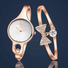De las mujeres de Lujo Del Tono de Oro Corazón Checa Piedras de Cuarzo Reloj de Pulsera + Pulsera