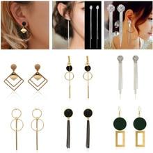 Personality Fashion round geometric wood earrings Retro female tassel long women earrings Jewelry