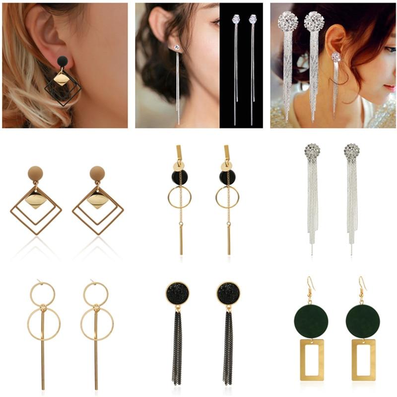 Korean Fashion Long Gradient Geometric Asymmetry Rhinestone Circle Earrings New Acrylic Earring For Wedding Party Women Gift