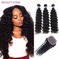 8A Brazilian Deep Wave With Closure Unprocessed Virgin Hair With Closure Brazilian Virgin Hair 3 Human Hair Bundles With Closure