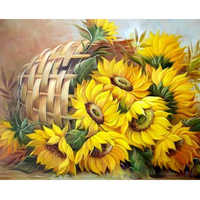 RUOPOTY Frame Flowers DIY Painting By Numbers Kit Sunflowers Modern Home Wall Art Picture By Numbers For Home Decors Artwork