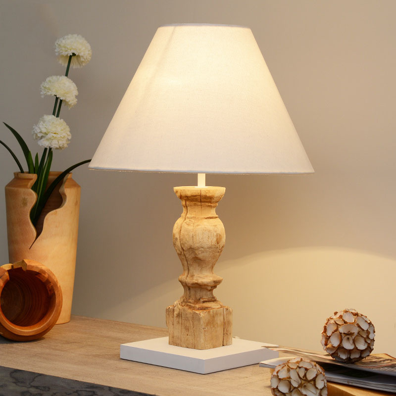Natural exotic thailand handmade original teak wood led - Lampe decorative salon ...
