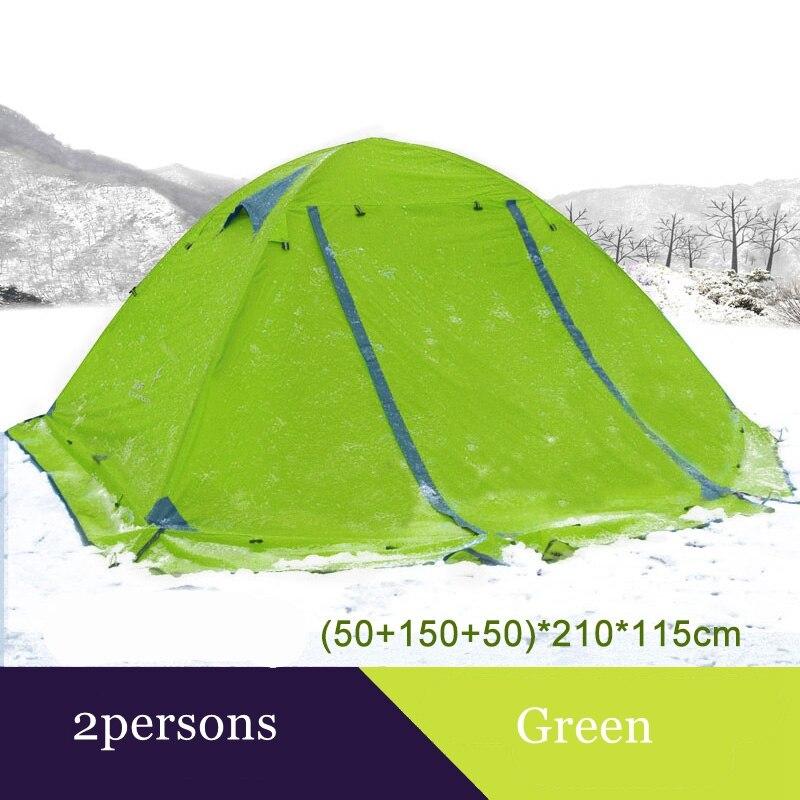 Tente de camping Flytop extérieure 2 personnes ou 3 perons double couche en aluminium pôle anti-neige tente familiale extérieure avec jupe de neige - 5