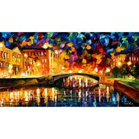 Hand painted landscape oil pictures canvas large wall painting bridge over dreams pop art for living room decor