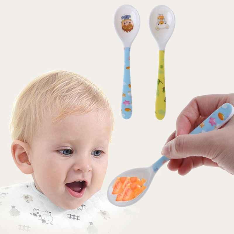 Cuchara de bebé cabeza recta de alimentación de entrenamiento cubiertos platos vajilla infantil niños alimentador seguro suministros de aprendizaje