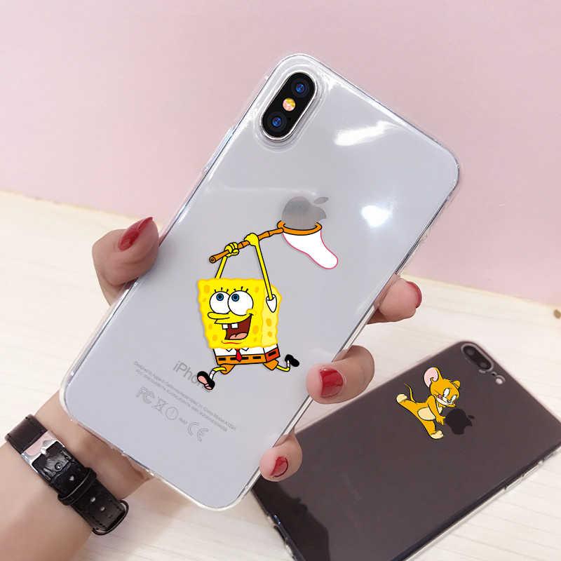 مضحك الكرتون الهاتف حقيبة لهاتف أي فون X XS 11 برو ماكس XR لطيف القط توم غطاء آيفون 8 7 6 6S زائد 5 5s SE لينة حافظة سيليكون