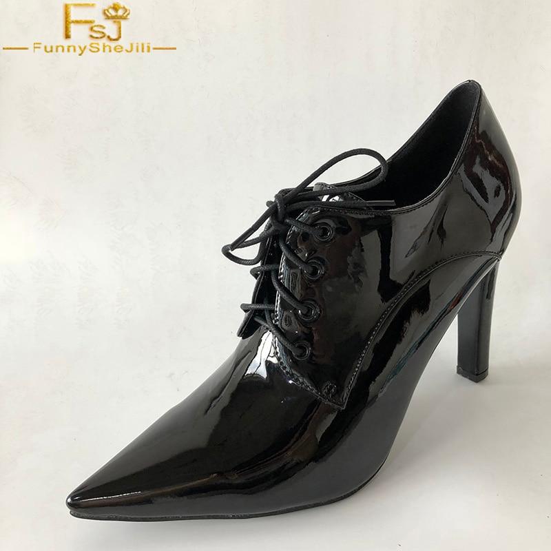 Automne Haute Mujer Fsj Black Robe À Chaussures Pointu Zapato Femmes Lacets En Cuir Épais Bout École Filles Casual Mode 2018 Talons Pompes 55wrnq7R