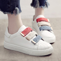 White Shoes Hook Loop Massage Ladies Shoes Fabric Solid Sneakers Shoes Round Toe Sewing Women Casual