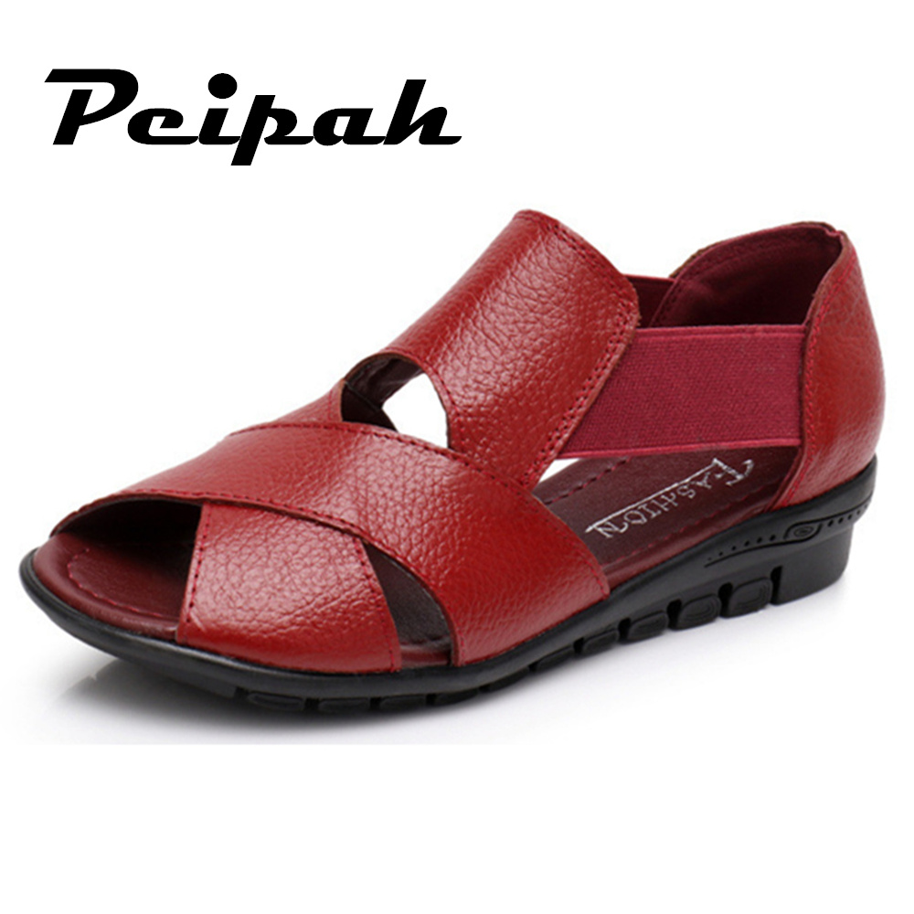 PEIPAH Summer Flat Sandals Women Casual Mother Shoes Black & Rad Slip On Female Summer Shoes Wedges Sandals For Woman new women sandals low heel wedges summer casual single shoes woman sandal fashion soft sandals free shipping