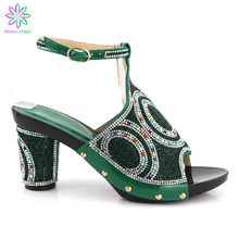 PU Leather Comfortable Heels Green Shoes African Ladies Wedding Shoes Without Bag To Match Italian shoes(China)