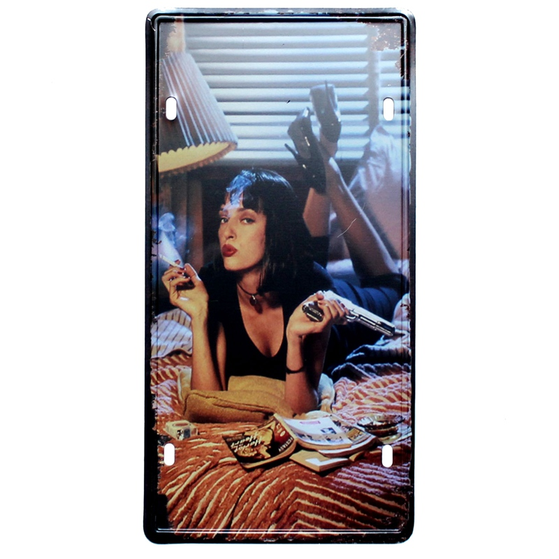 Pulp Fiction Tin Sign Movie license plate Iron Painting Wall Bar Ktv Coffee Home Art Decor 30X15CM B 474B in Plaques Signs from Home Garden