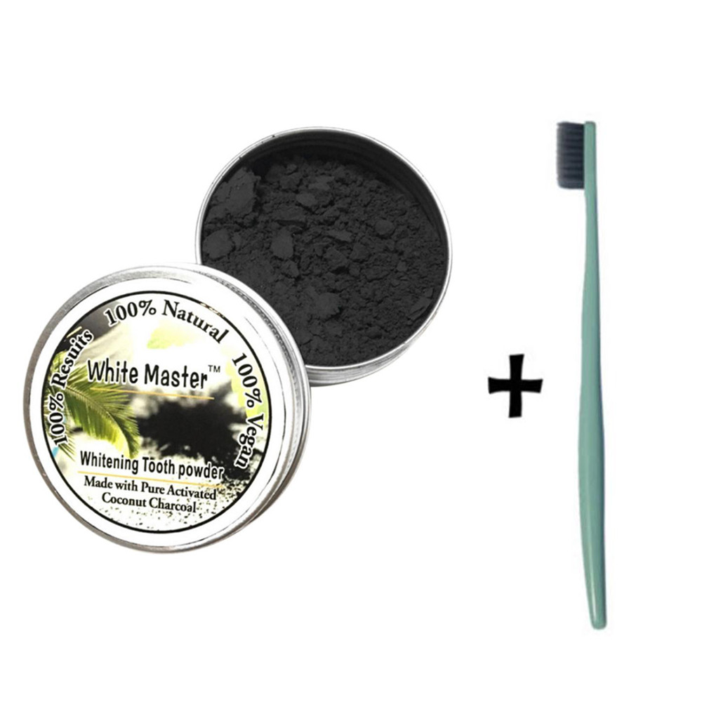 Toothbrush+Teeth Whitening Powder Natural Organic Activated Charcoal Bamboo Powder With Toothbrush Soft Adults Toothbrush #40 image