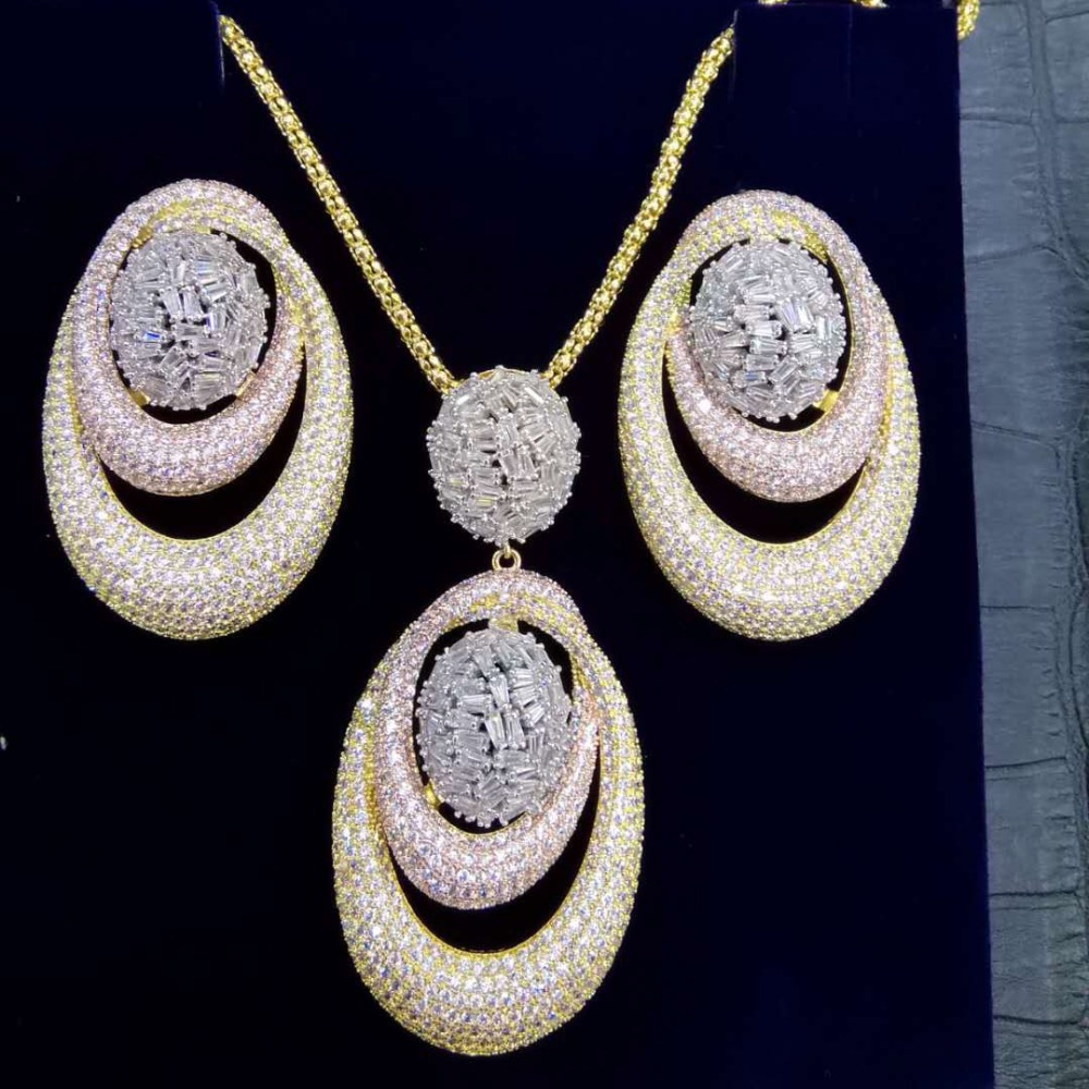 GODKI New Luxury Exclusive Circle Necklace Earring Sets For Women Wedding Bridal Cubic ZirconDubai High End
