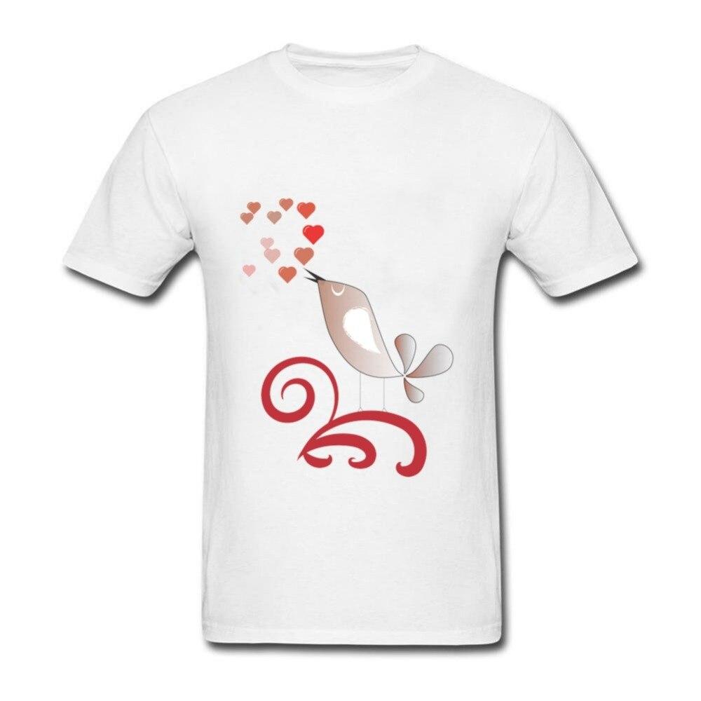 Desain t shirt kerah - Desain Baru Pria Tshirt Cinta Burung Terbaru Lengan Pendek Tee Shirts Kerah Bulat Katun Organik T