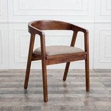 Скандинавская цельная древесина обеденный кресло железно-арт простой компьютерный стол кафе со стульями для отдыха стул спинка офисного стула