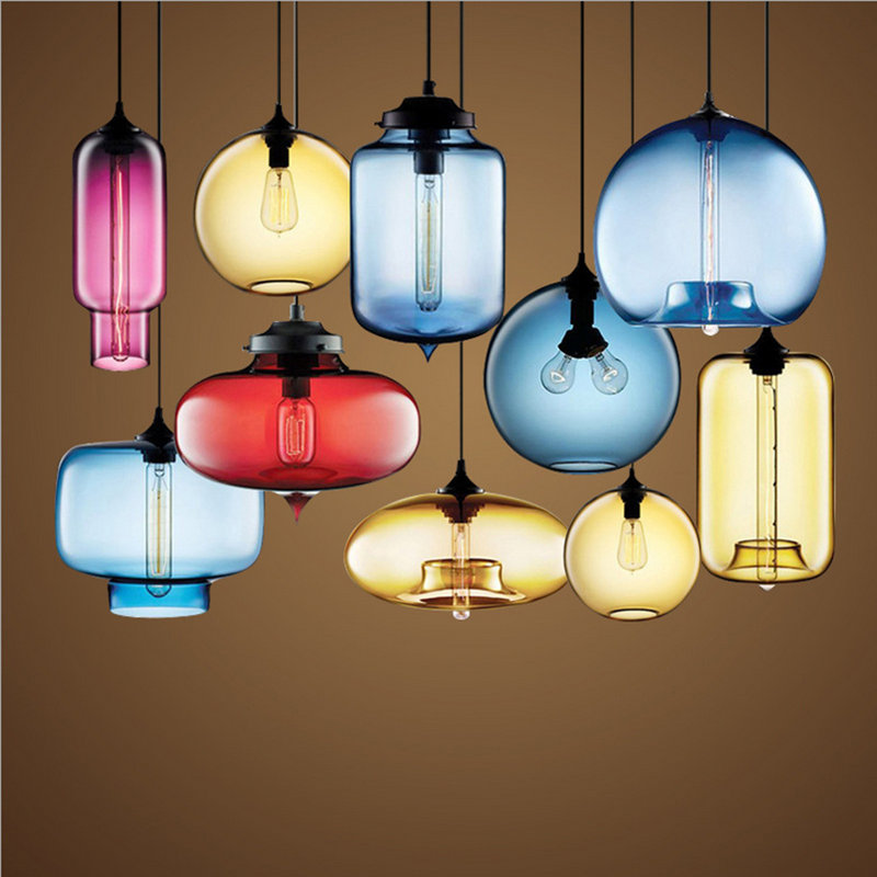 Лампы Чердак Стекло Кулон Свет Старинные Лампы Декоративные Кофе Бар Лампы Эдисон