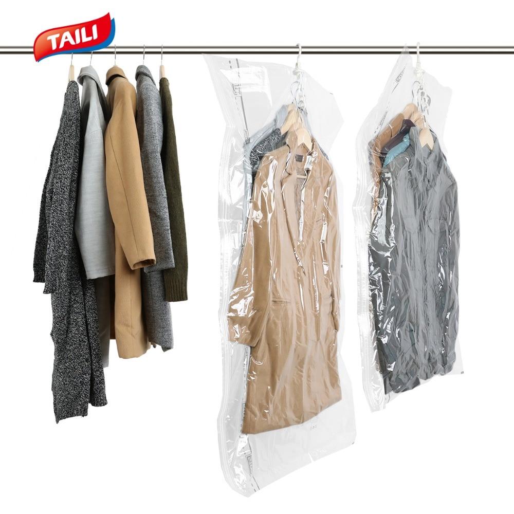 TAILI Vacuum Bag Clothes Storage Bag Hanging organizers Home Storage Organization Clothes Coat Packing Bag Air Tight No Leak