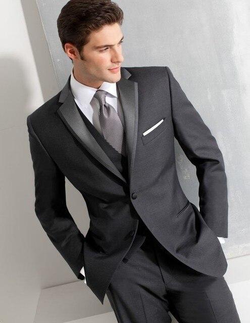 Black Men Suits Groom Tuxedos 3 Pieces Slim Fit Mens Wedding Prom ...
