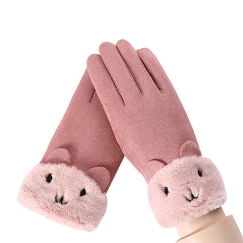 winter female warm glove cashmere cute bear gloves mittens. Black Bedroom Furniture Sets. Home Design Ideas