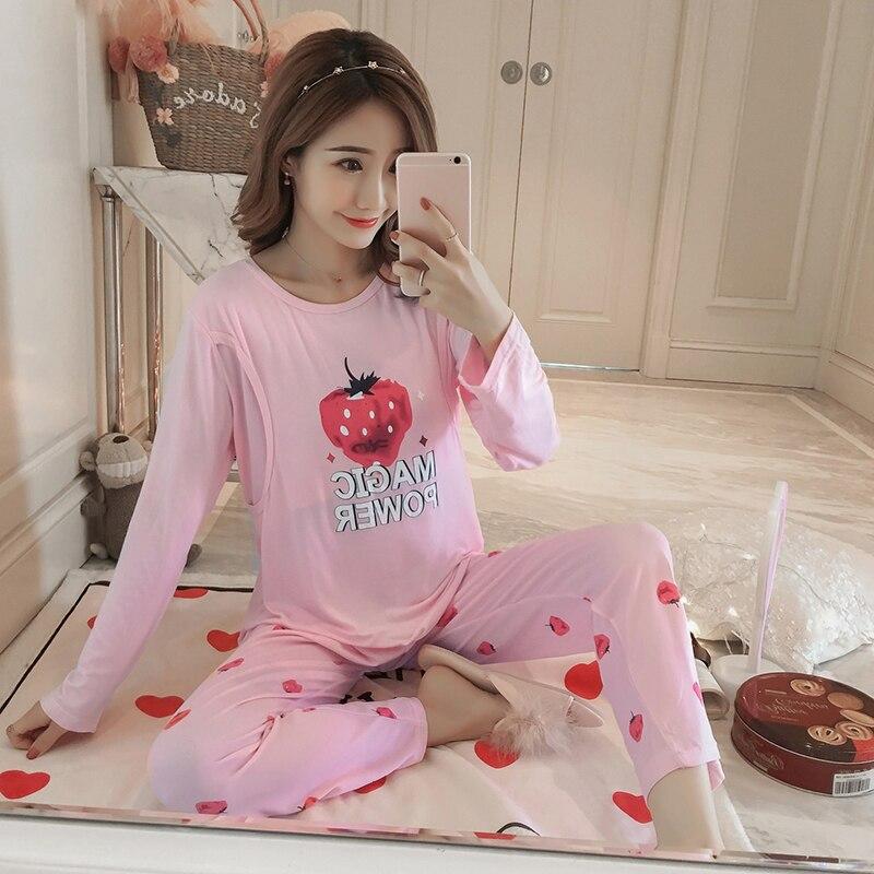 Nursing Nightgown Sets Floral Tops+ Pants 2 Pieces Breast Feeding Nightwear Long Sleeve Maternity Sleepwear Pregnancy Nightwear