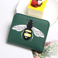 Women S New Leather Short Coin Purse First Layer Leather Seven Card Hand Clutch Zipper Animal