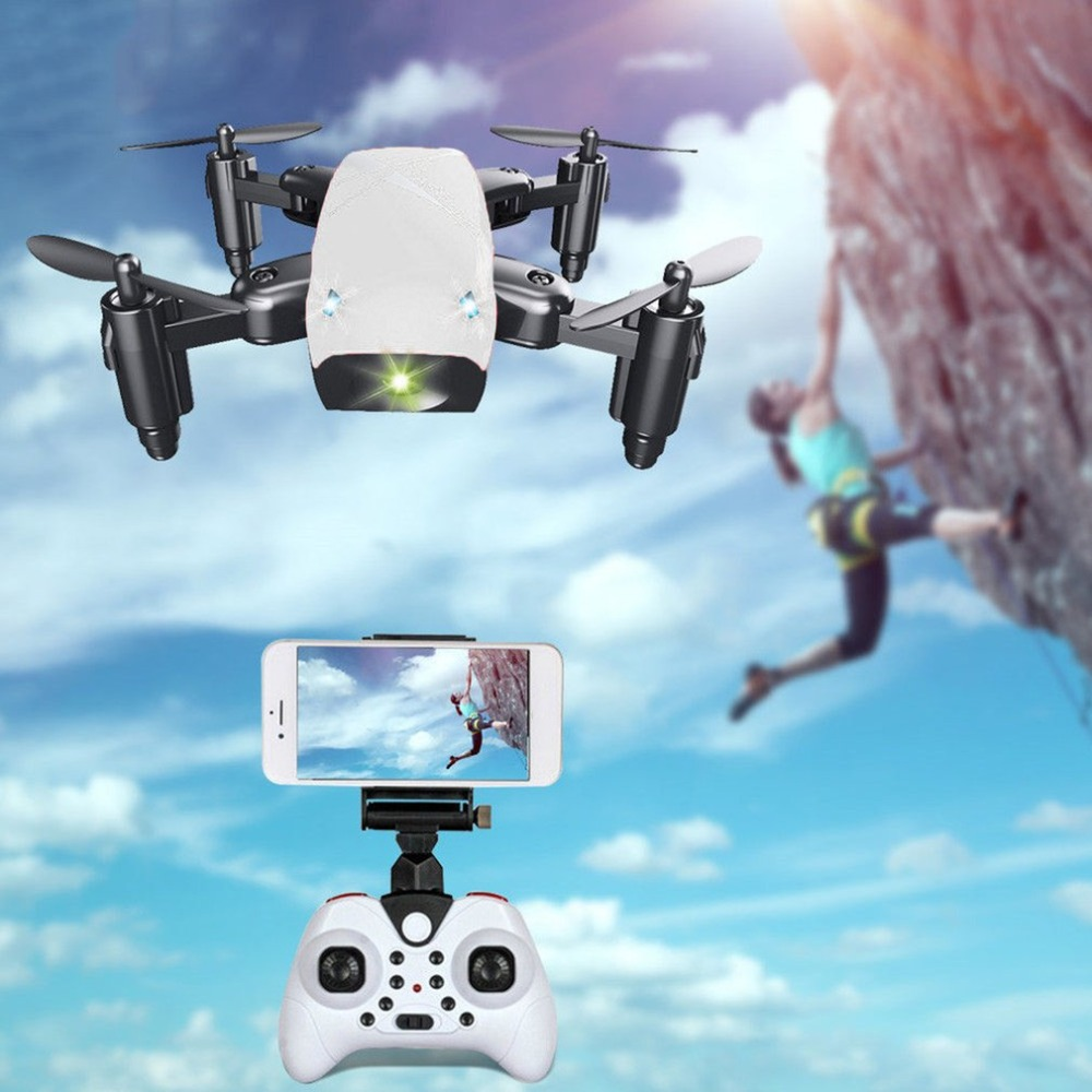 S9HW Mini RC Drone With Camera HD 0.3MP Foldable RC Quadcopter Altitude Hold Helicopter WiFi FPV Headless Aircraft mini rc quadcopter foldable pocket drone with wifi fpv 0 3mp hd camera headless mode altitude hold rc helicopter vs s9hw