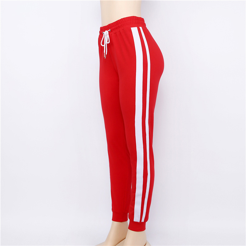 top-rated save off free shipping Self Duna 2019 Women Striped Pants Sweatpants Female Trouders Joggers Lace  Up White Red High Waist Casual Harem Pants Pantalon