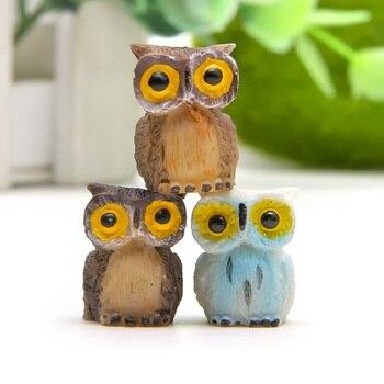 3 sztuk/partia Zakka artykuły spożywcze Kawaii sowa Model żywiczne figurki zabawki dla dzieci DIY mikro krajobraz rekwizyty do dekoracji prezent na Boże Narodzenie