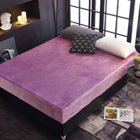 Wholesale High Quality 5D Embossed velvet waterproof bed Sheet Warm Flannel Fleece 28cm Hight Fitted Sheet Bed Solid Color