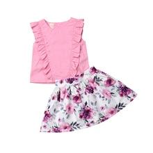 Newborn Kid Baby Girl Sleeveless Tops Ruffle Button T shirt Floral Tutu Mini Skirt Outfits Clothes Set 2019 все цены