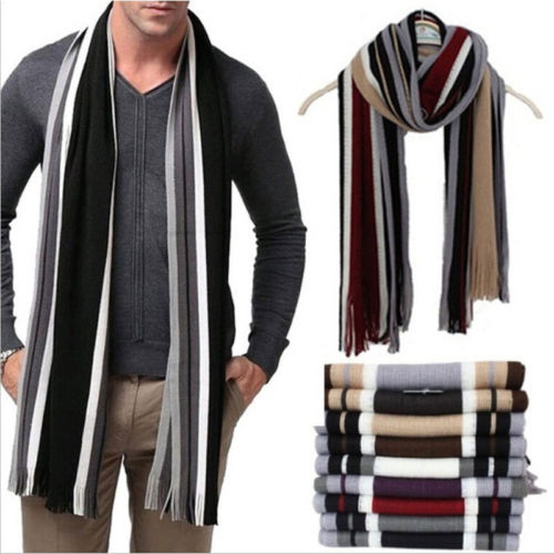 Cashmere Shawl Soft Scarf Tassel Fringe Winter Long Classic Warm NEW Stripe Men