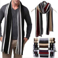 2017 Men Classic Cashmere Shawl Winter Warm Fringe Stripe Tassel Long Soft Scarf Winter NEW