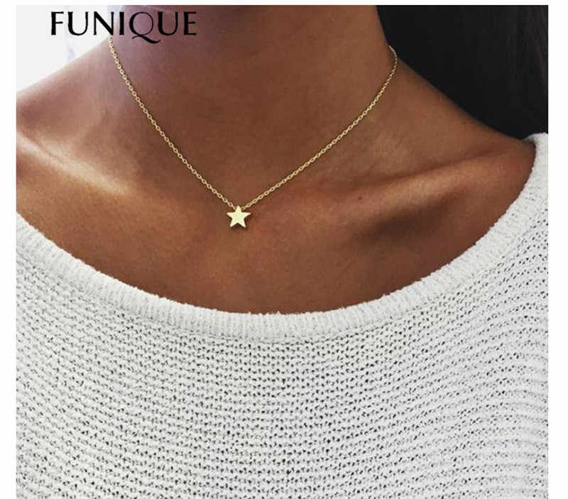 FUNIQUE Women Chocker Gold Silver Color Chain Star Choker Necklace Jewelry Thickened Star Pendant Clavicle Sweater Necklace